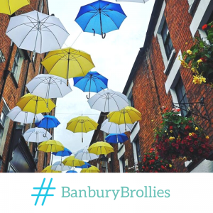 Banbury BID Brollies hanging in Butchers Row