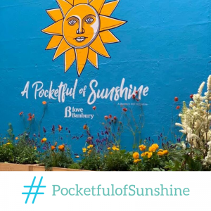 A Pocketful of Sunshine art installation and community garden in Church Lane, Banbury.